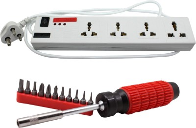 Pinnacle 4 Socket 1 Switch 5 Meter Cord Deluxe Series+ Moller screwdriver set of 2 Kit Electrical Combo(Pack of 2)