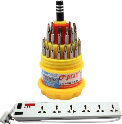 Pinnacle 6 Socket 1 Switch 3 Meter Cord Deluxe Series + Jackly Multi screwdriver set of 2 Electrical Combo(Pack of 2)