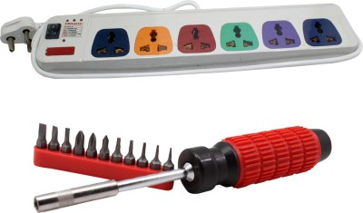 Pinnacle 6 Socket Individual Switches 1.5 Meter Cord With Heav Brass Contact Series + Moller screwdriver set of 2 Kit Electrical Combo