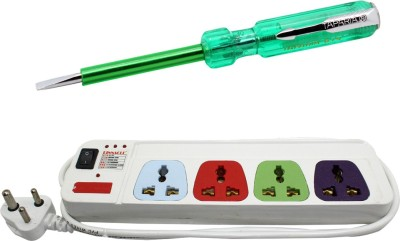 Pinnacle 4 Socket 1 Switch 1.5 Meter Cord With Heav Brass Contact Series + Line tester set of 2 Electrical Combo