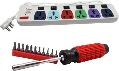 Pinnacle 6 Socket 1 Switch 5 Meter Cord With Heav Brass Contact Series + Moller screwdriver set of 2 Kit Electrical Combo