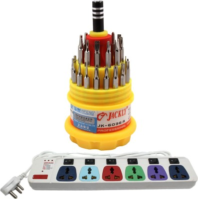 Pinnacle 6 Socket 1 Switch 3 Meter Cord With Heav Brass Contact Series + Jackly Multi screwdriver set of 2 Electrical Combo