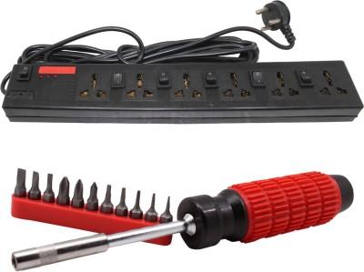 Pinnacle 6 Socket 1 Switch 3 Meter Cord Regular Series + Moller screwdriver set of 2 Kit Electrical Combo