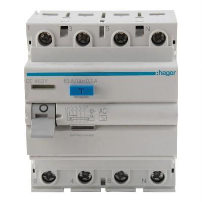 Hager RCCB FP 63A 100mA CE463Y MCB