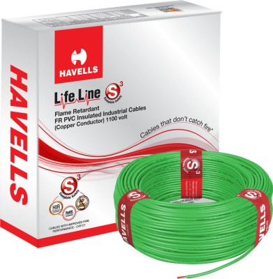 Havells FR PVC, PVC 0.75 sq/mm Green 90 m Wire