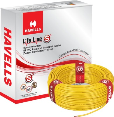 Havells FR PVC, PVC 6 sq/mm Yellow 90 m Wire