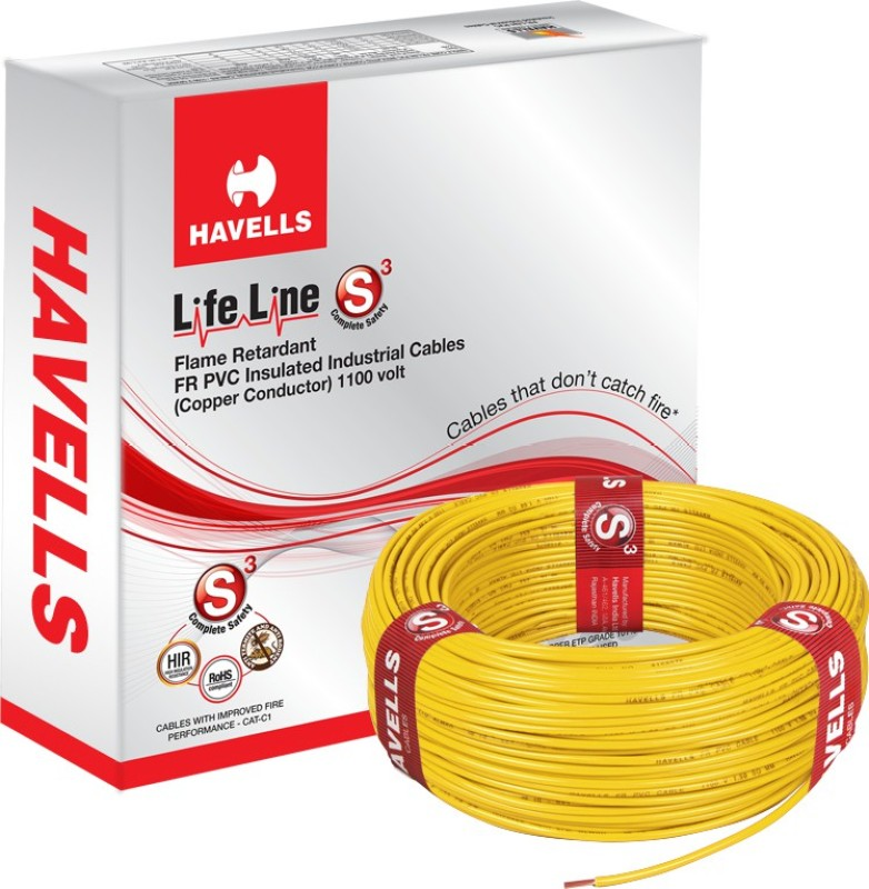 Havells FR PVC, PVC 2.5 sq/mm Yellow 90 m Wire