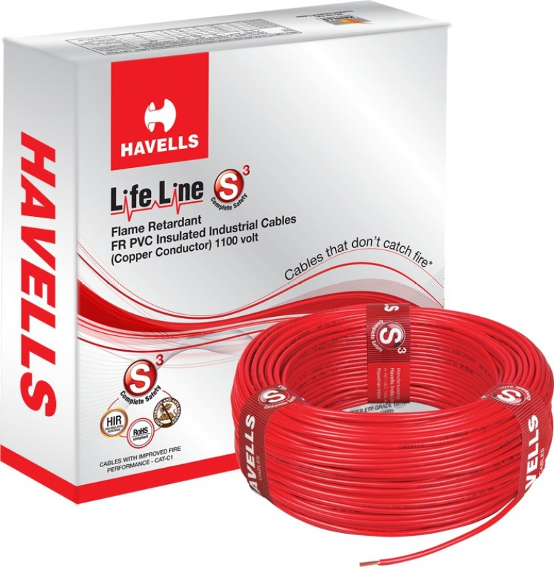 Havells FR PVC, PVC 4 sq/mm Red 90 m Wire