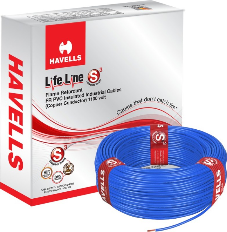 Havells FR PVC, PVC 4 sq/mm Blue 90 m Wire