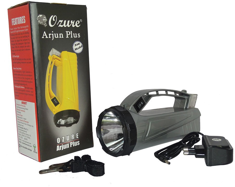 View Ozure Arjun Plus Rechargeable Search LED Light Emergency Lights(Silver, Grey) Home Appliances Price Online(Ozure)