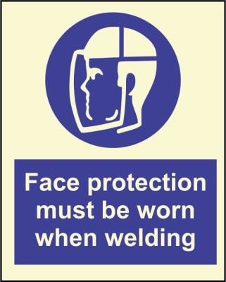 BRANDSHELL Face Protection must be Worn while Welding Emergency Sign