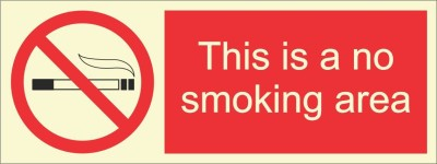 BRANDSHELL This Is a No Smoking Area Emergency Sign