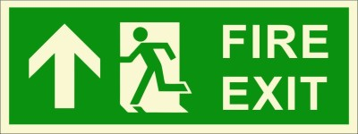 BRANDSHELL Fire Exit Uppwards Emergency Sign