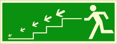 BRANDSHELL Emergency Exit Staircase Downwards Emergency Sign