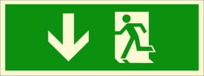 BRANDSHELL Emergency Exit Downwards Emergency Sign