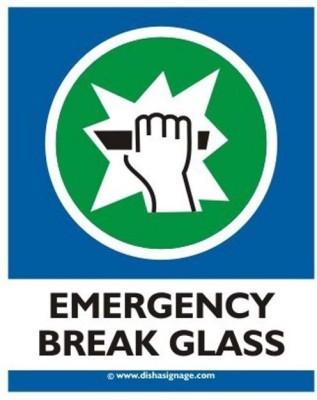 Dishasignage Emergency break glass Emergency Sign