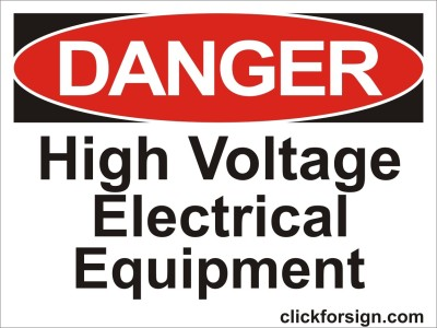 clickforsign High Voltage Electrical Equipment OSHA Safety Sign Self Adhesive Vinyl Sticker(8x6 inch) Emergency Sign