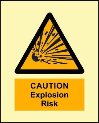 BRANDSHELL Caution Explosive Risk Emergency Sign