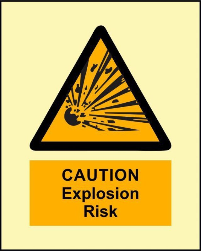 BRANDSHELL Caution Explosive Risk Emergency Sign