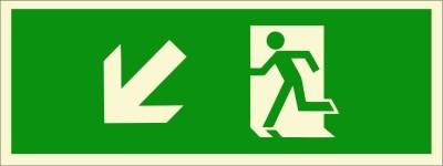 BRANDSHELL Emergency Exit Down Left Side Emergency Sign
