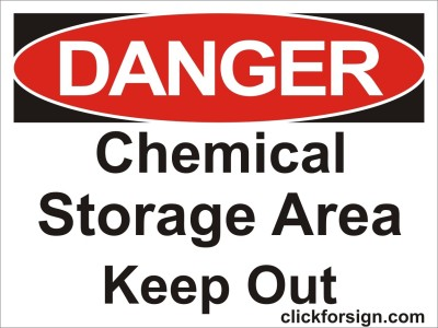 clickforsign Chemical Storage Area Keep Out OSHA Safety Sign Self Adhesive Vinyl Sticker(8x6 inch) Emergency Sign