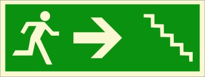 BRANDSHELL Emergency Exit Staircase Right Side Emergency Sign