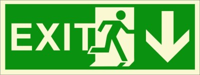 BRANDSHELL EXIT Down Wards Emergency Sign