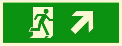 BRANDSHELL Emergency Exit Up Right Side Emergency Sign