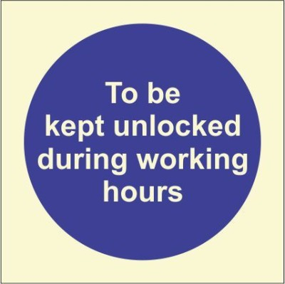 BRANDSHELL To be Kept Unlocked during Working Hours Emergency Sign