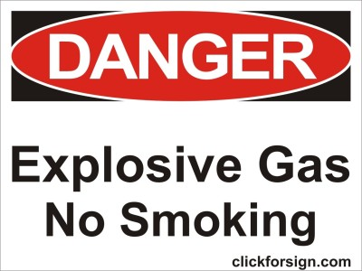 clickforsign Explosive gas No smoking OSHA Safety Sign Self Adhesive Vinyl Sticker (8X6 Inch) Emergency Sign