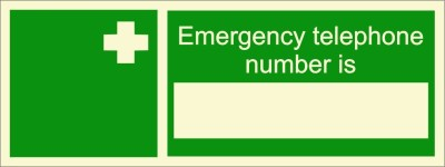 BRANDSHELL Emergency Telephone Number Is Emergency Sign