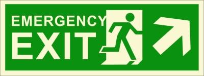 BRANDSHELL Emergency Exit Upper Right Side Emergency Sign