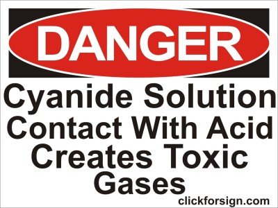 clickforsign Cyamide Solution Contact With Acid Creates Toxic Gases OSHA Safety Sign Self Adhesive Vinyl Sticker(8x6 inch) Emergency Sign