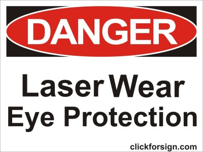 clickforsign Laser Wear Eye Protection OSHA Safety Sign Board(8x6 inch) Emergency Sign
