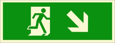BRANDSHELL Emergency Exit Down Right Side Emergency Sign
