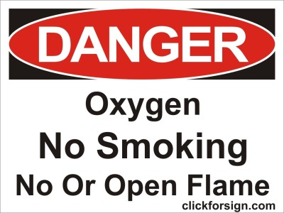clickforsign Oxygen No smoking OR NoFlame OSHA Safety sign board(8x6 inch) Emergency Sign