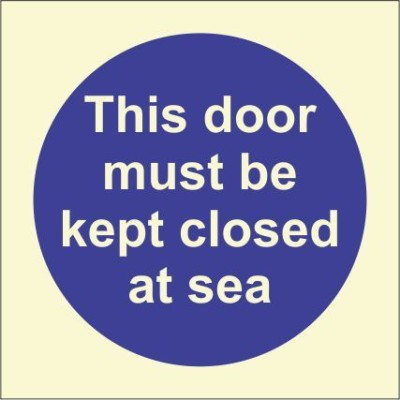 BRANDSHELL This Door Must be Kept Closed at Sea Emergency Sign