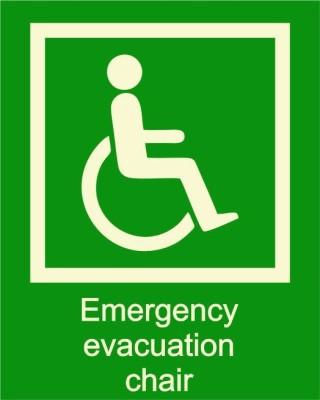 BRANDSHELL Emergency Evacuation Chair Emergency Sign
