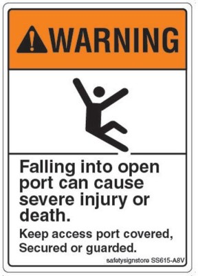 Safety Sign Store Warning: Falling Into Open Port Emergency Sign