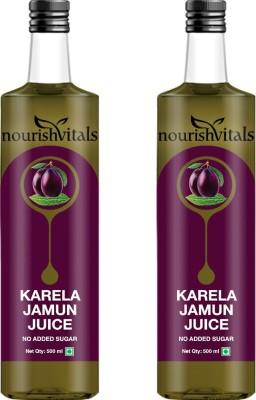 NourishVitals Karela Jamun Juice (No Added Sugar) Sports Drink(500 ml Pack of 2)