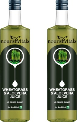 NourishVitals WheatGrass With AloeVera Juice - No Added Sugar (Pack Of 2) Sports Drink(500 ml Pack of 2)