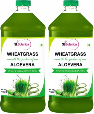 St. Botanica Wheatgrass Juice With Aloevera Juice Unfiltered Sports Drink(500 ml Pack of 2)