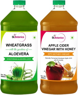 St. Botanica Wheatgrass Juice With Aloevera + Apple Cider Vinegar With Honey Sports Drink(500 ml Pack of 1)