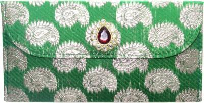 WeddingPitara Fancy Shagun Brocade Green Envelopes(Pack of 3 Green)