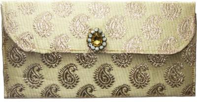 WeddingPitara Fancy Shagun Brocade Beige Envelopes(Pack of 3 Beige)