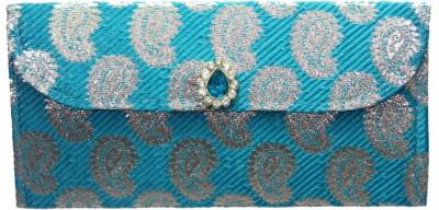 WeddingPitara Fancy Shagun Brocade Blue Envelopes(Pack of 3 Blue)