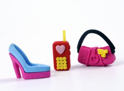 COI KIDS Non-Toxic mobile , purse , stilettos Shaped SMALL Erasers