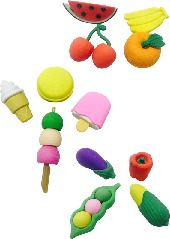 Priyankish Smart kids Non-Toxic Fruits & Vegetable Eraser Set Shaped Small Erasers(Set of 3, Multocolor)