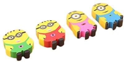 Shopaholic Minions Non-Toxic Minions Shaped small Erasers(Set of 4, Multi)