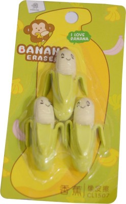 Priyankish Smart Kidz Non-Toxic Banana Erasers Shaped Medium Erasers